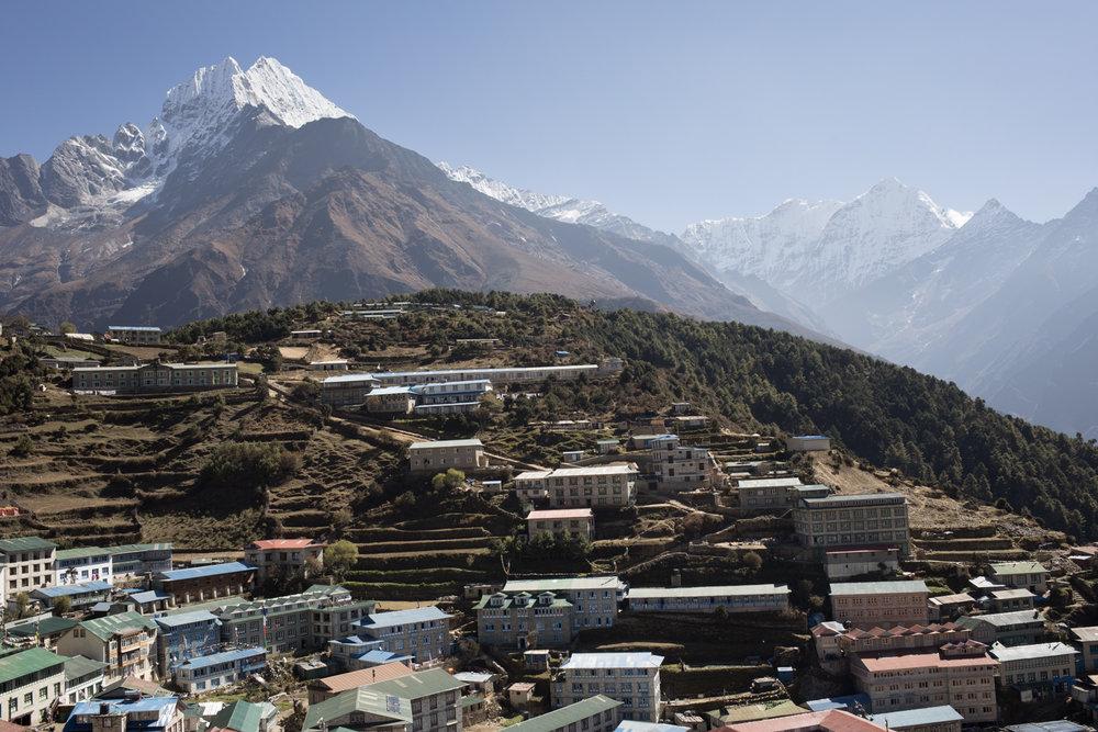Thamserku 6,608 m and Kusum Khangkaru 6,367 m above Namche Baazar, Nepal.(Elevation credit: PeakFinder)