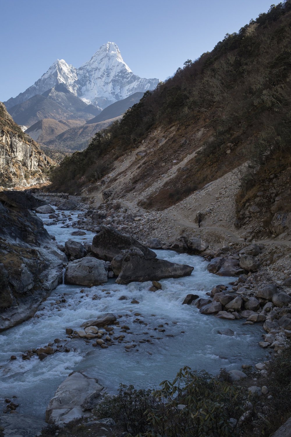 Imja Khola river with Ama Dablam in the in the background.