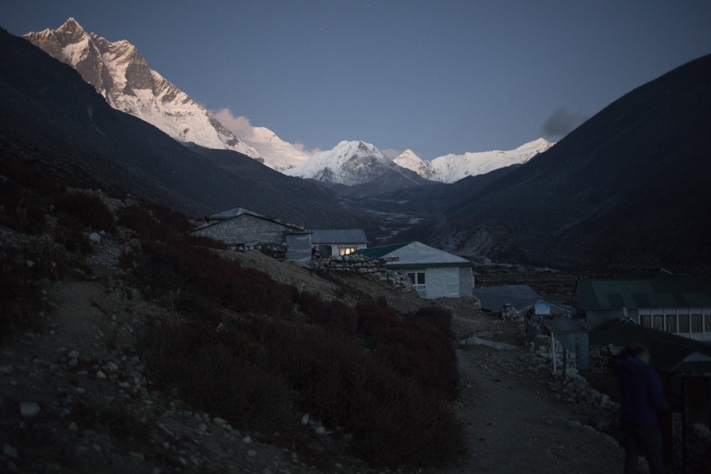 Walking back to our teahouse.   Left to Right:  Lhotse 8,516 m / 27,940 ft, Shartse 7,457 m / 24,465 ft, Island Peak 6,189 m / 20,305 ft, Cho Polu 6,735 m / 22,096 ft (Elevation credit: PeakFinder)