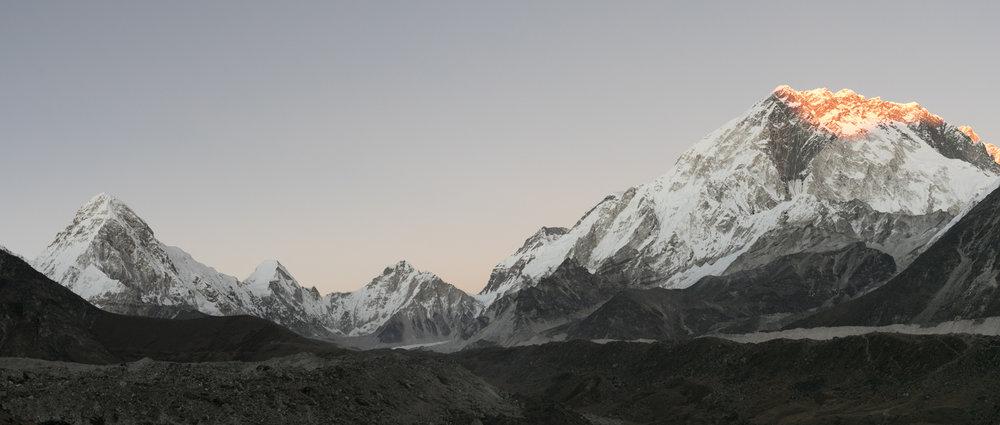 Sunset Light Study #1.  Left to Right: Pumori 7,161 m / 23,494 ft, Lingtren 7,161 m / 23,494 ft, Khumbutse 6,636 m / 21,772 ft, Nuptse 7,861 m / 25,791 ft.
