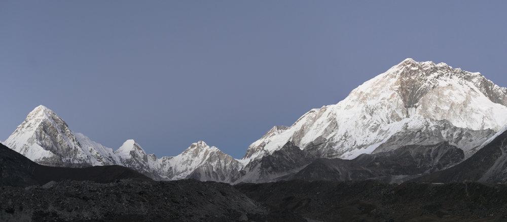 Sunset Light Study #2.  Left to Right: Pumori 7,161 m / 23,494 ft, Lingtren 7,161 m / 23,494 ft, Khumbutse 6,636 m / 21,772 ft, Nuptse 7,861 m / 25,791 ft.