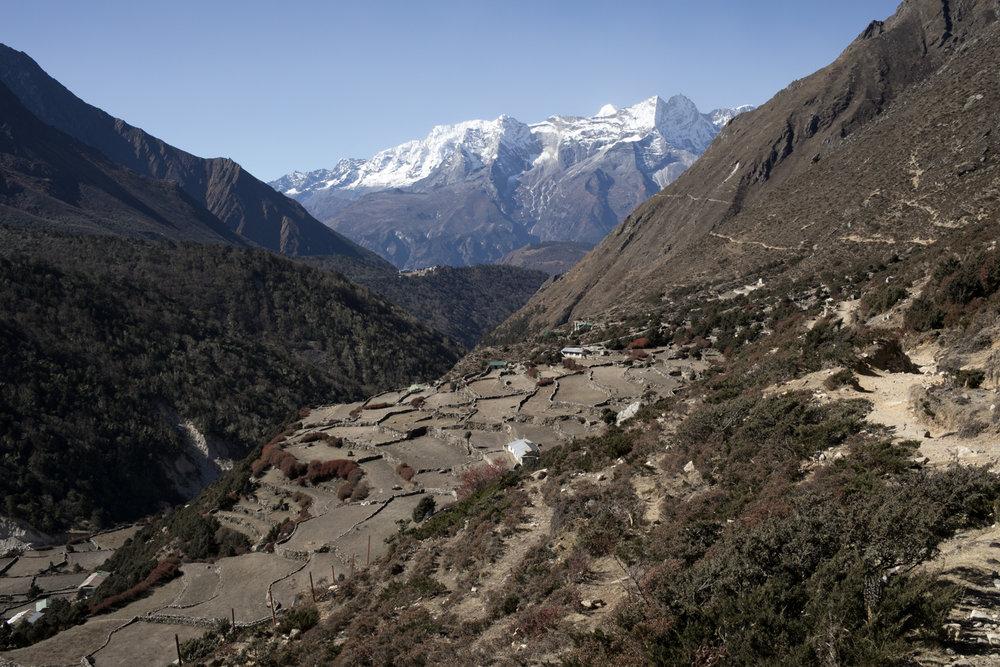 Villages below the trek.
