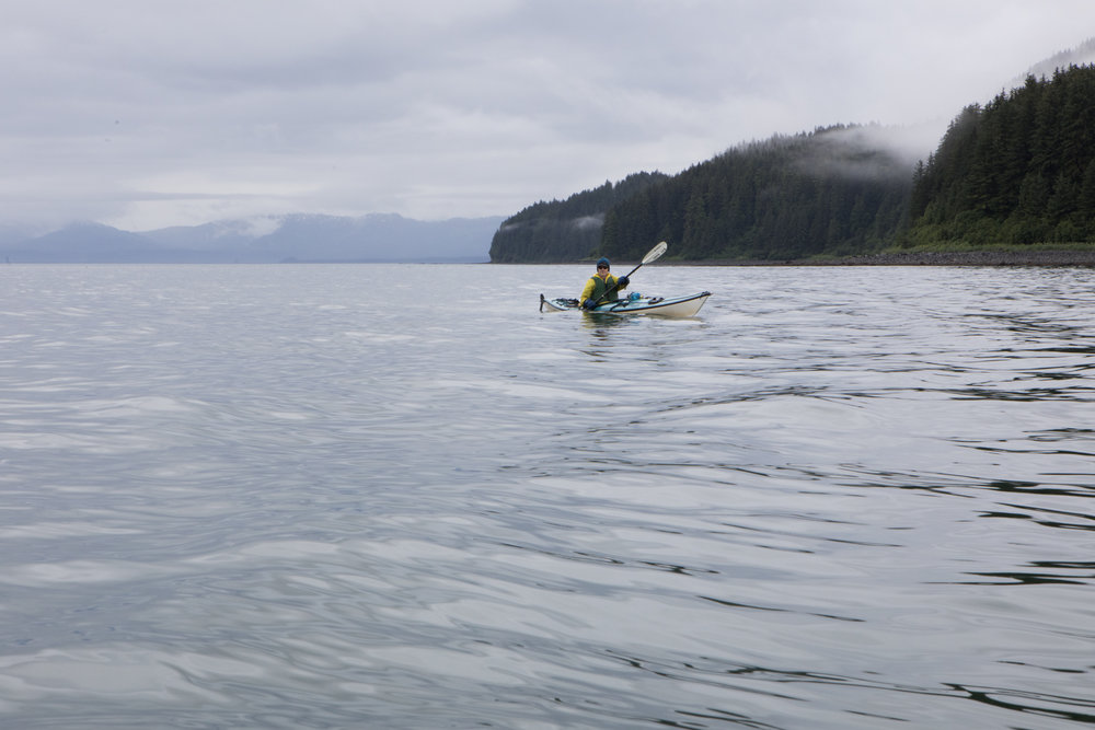 Ambrose Bittner paddling the single kayak.  During the trip we rotated boats daily so that everyone would have an opportunity to try out the single kayak.  Paddling the single was a good opportunity for each person to feel the difference in stability, control, and speed between our available boats.