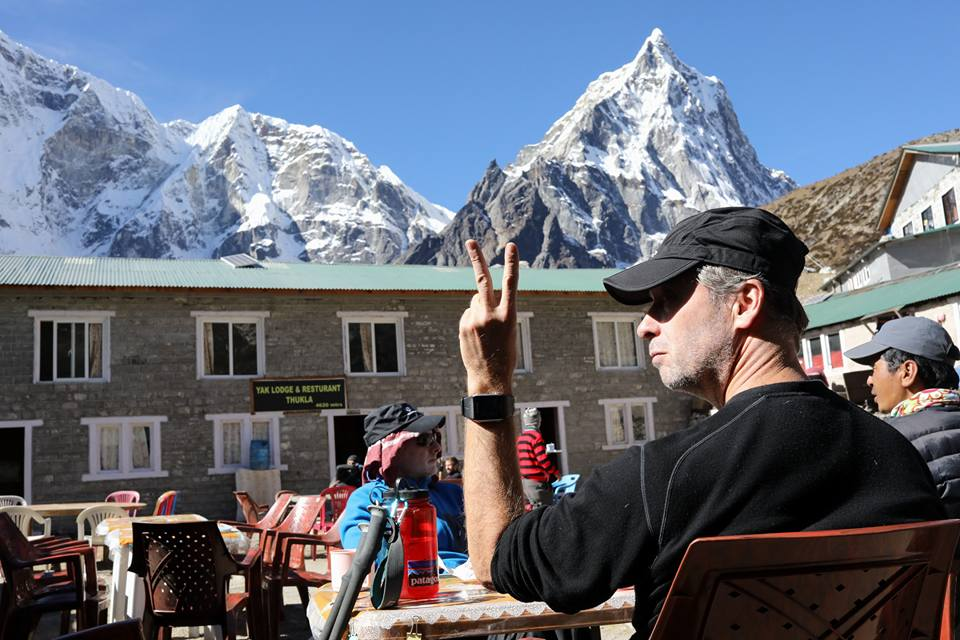 Peace, mountains, and sunshine.  Russ Southwood, Ambrose Bittner, Lakpa Sherpa, and I enjoyed some tea and cookies before beginning our climb.  Village of Dughla.