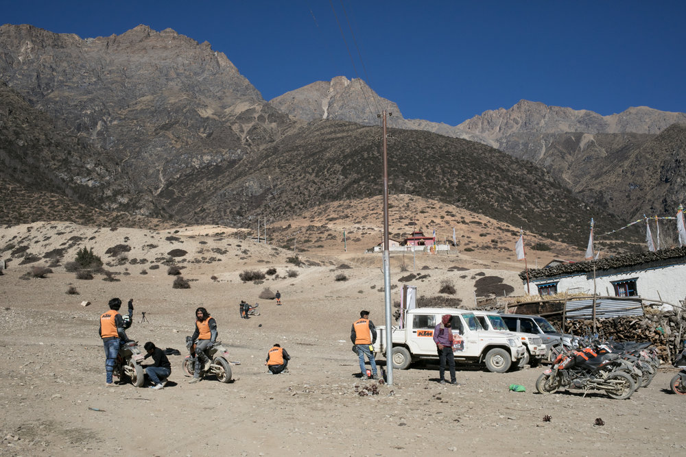 We ran into a film crew making a movie about a motorcycle tour along the road in Mustang.  The road is rough and bumpy but at times I thought it might be easier by two wheels rather than four.