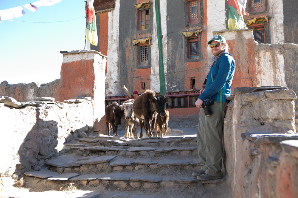 As we walked around the outside of the monastery we saw a monk chasing cattle from the courtyard. He took us to the Kings Old Palace and helped us view the monastery later that day when the people of the village came to give thanks.