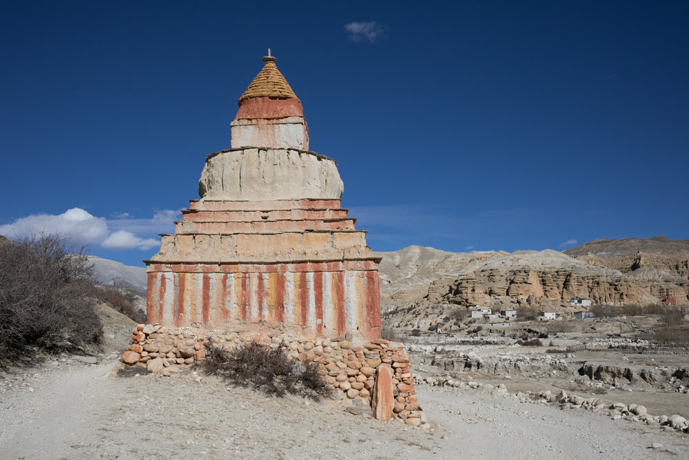 A beautifully painted chorten outside of the Chosar Valley.