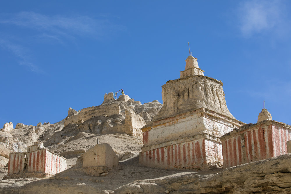 Weathered chortens.