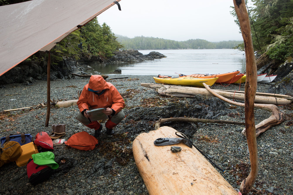Our southern campsite on Douglass Island. Aaron reviews a chart of the route we paddled south.