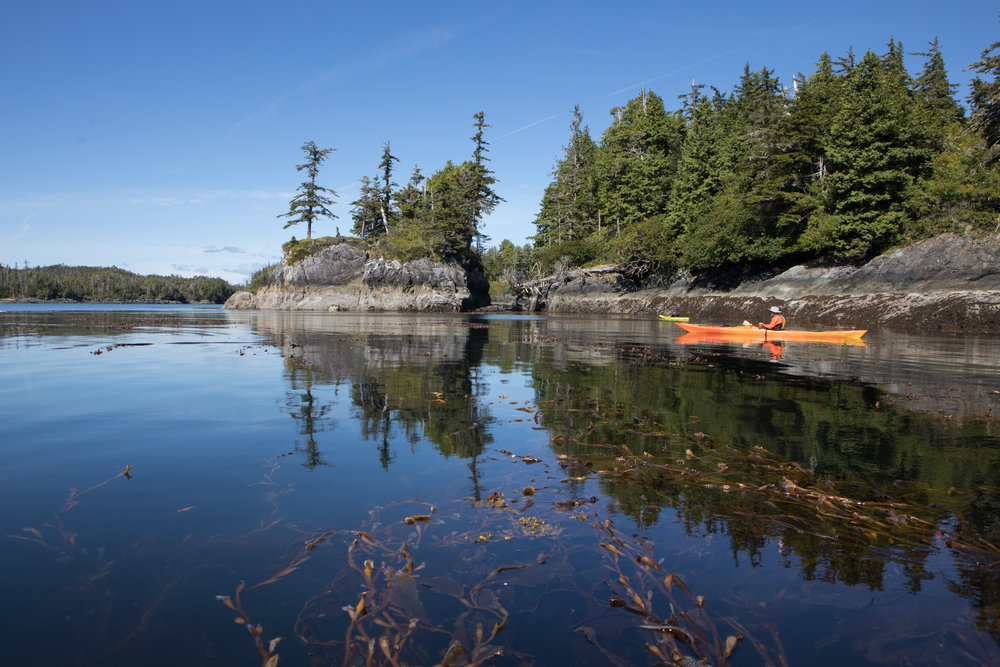 Exploring the Barrier Islands. We paddled through the southern Little Pass, out to Rocky Pass, and into a small cove on Middle Island where we filled and filtered water.
