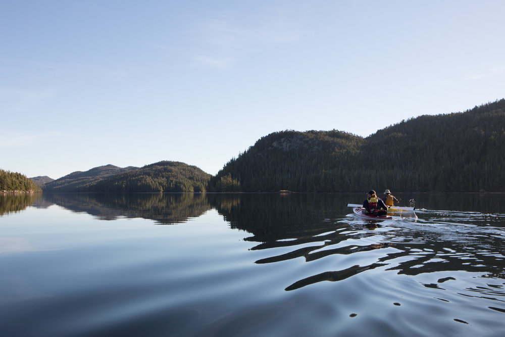 Aaron and Nate paddle north towards Hessa.