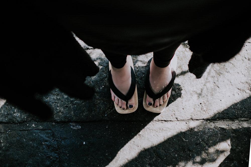 Wearing my onsen sandals.