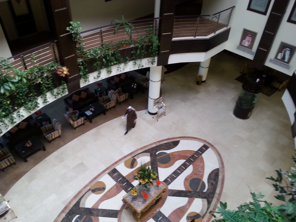 The interior atrium of the hotel, still keeping with the nautical theme.