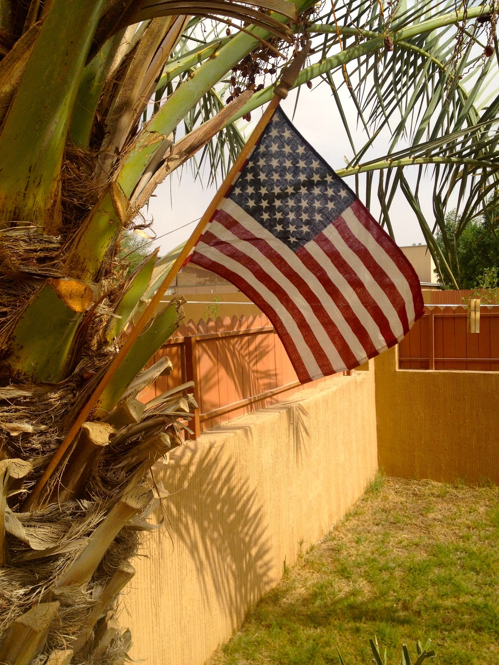 My gift flag flying proudly in the backyard of my villa in Riyadh