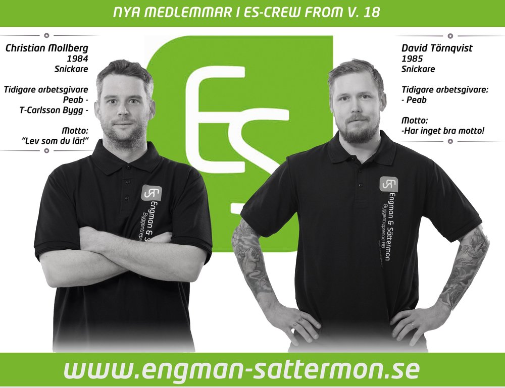 2 nya snickare börjar hos oss på Engman & Sättermon Byggentreprenad AB i Södertälje.