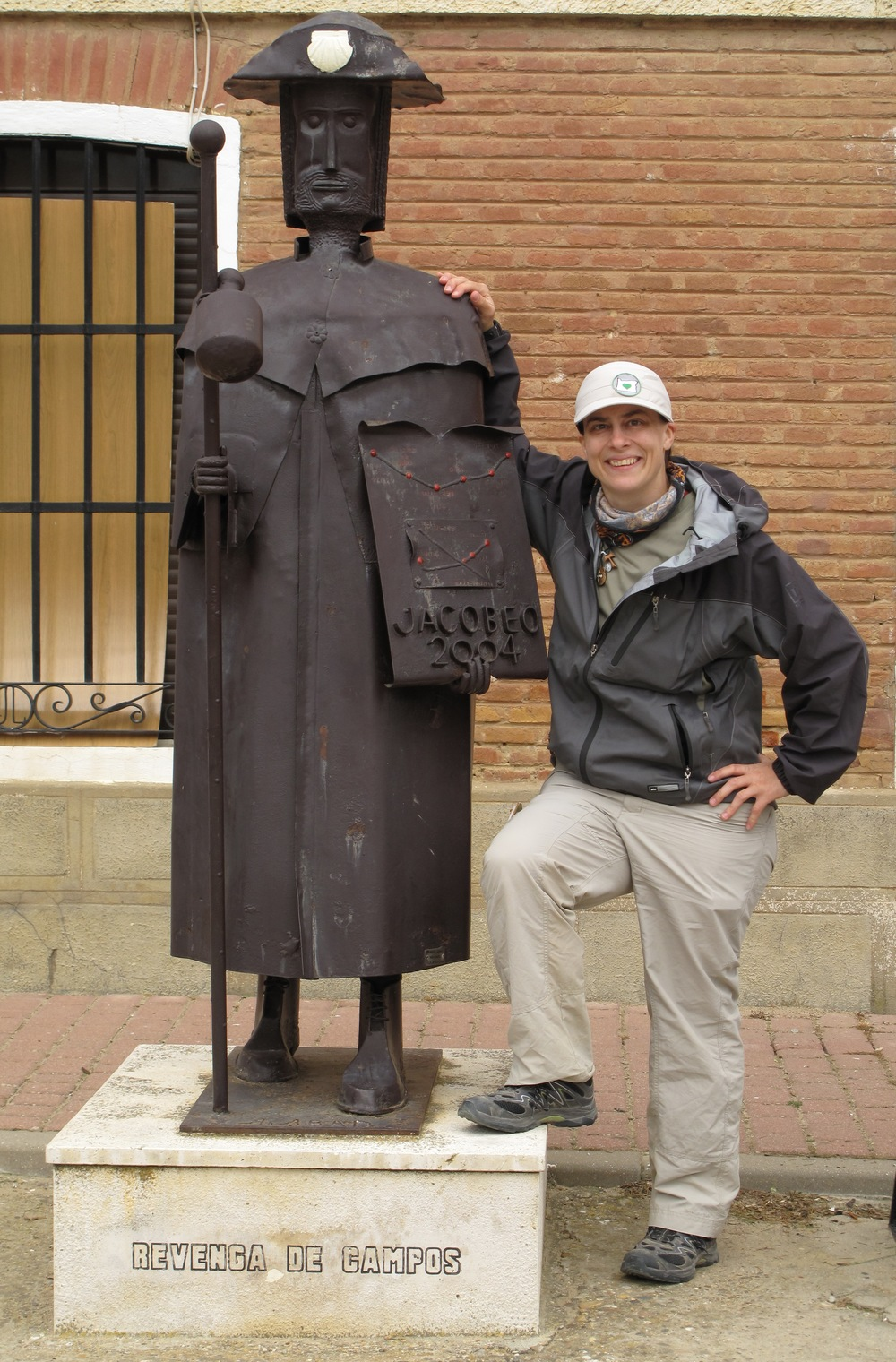 I don't have a ton of pictures with me in them.  This one was taken by in Revenga de Campos.  There are lots of pilgrim statues all along the way.