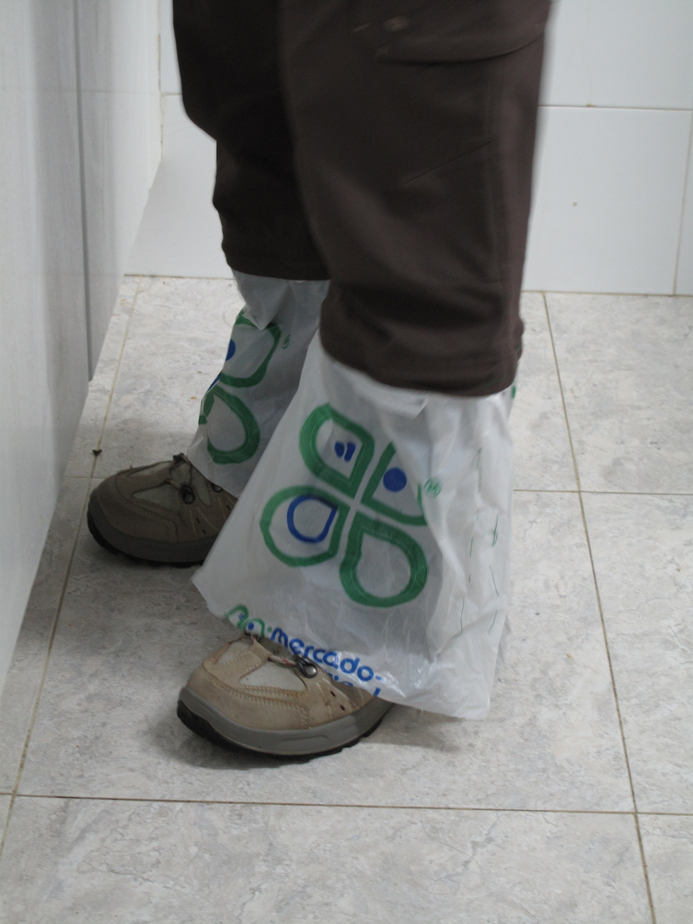 Pilgrims have to get creative when walking the Camino.  This pilgrim made gaiters out of grocery store bags.  Genius!