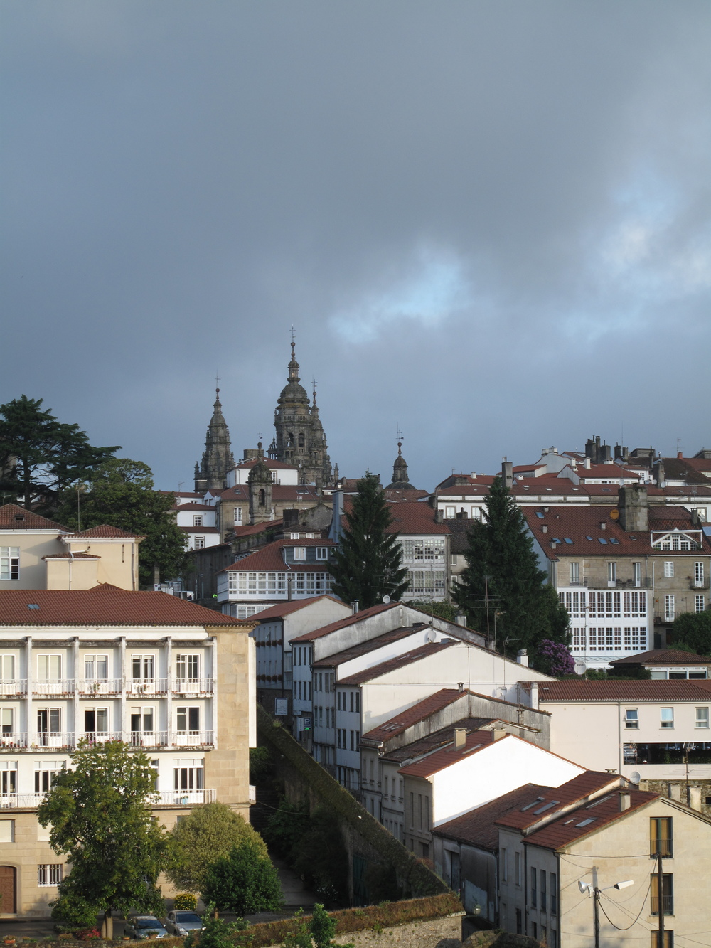 The first view of the Cathedral in Santiago de Compostela.