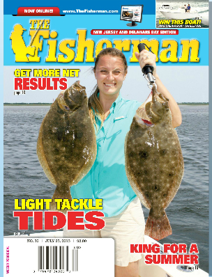 The Fisherman magazine cover shot:  Jennifer Taylor holding two Barnegat Bay fluke over 6 lbs.