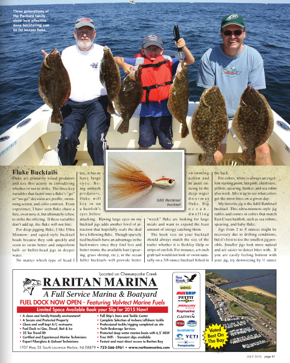 Charter client Jason Packard and family holding fluke to 8 lbs.   On The Water magazine.