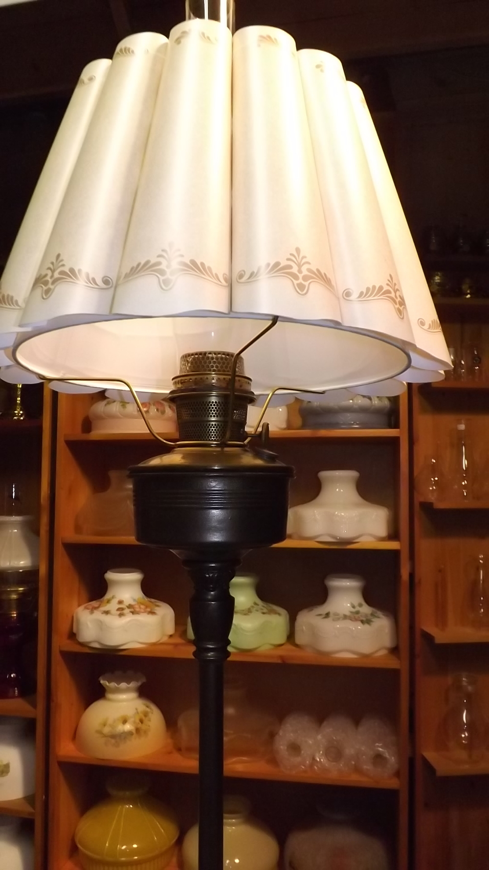 Antique floor lamps antique kerosene lighting 1934 model b 1258 bronze refinished new shade optional other shades available aloadofball Gallery