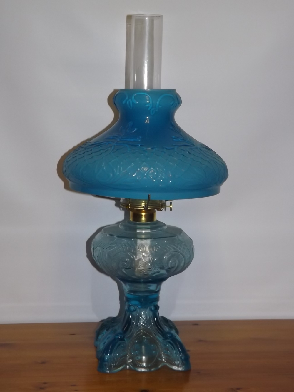 Blue Princess Feather Oil Lamp & Shade (New)