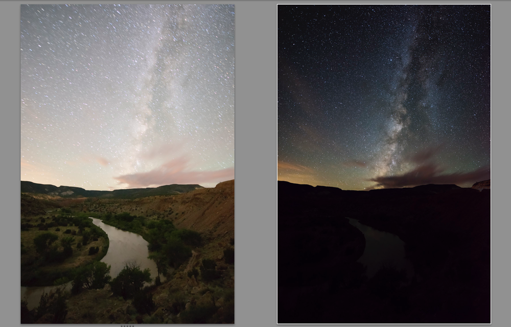 Long exposure on left and SLS file on right