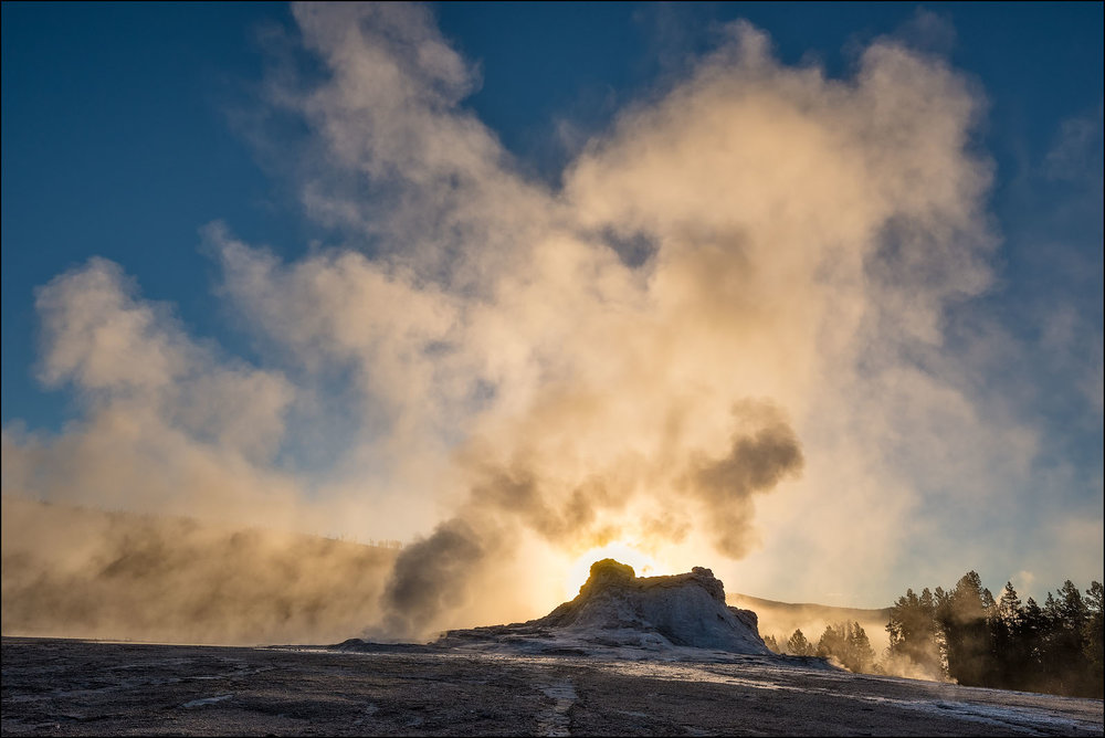 Castle Geyser steam cloud, Yellowstone National Park, Wyoming.