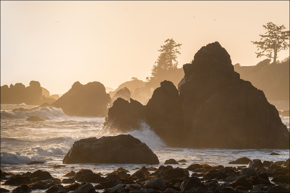 Surf and rocks at Pebble Beach, Crescent City, California.