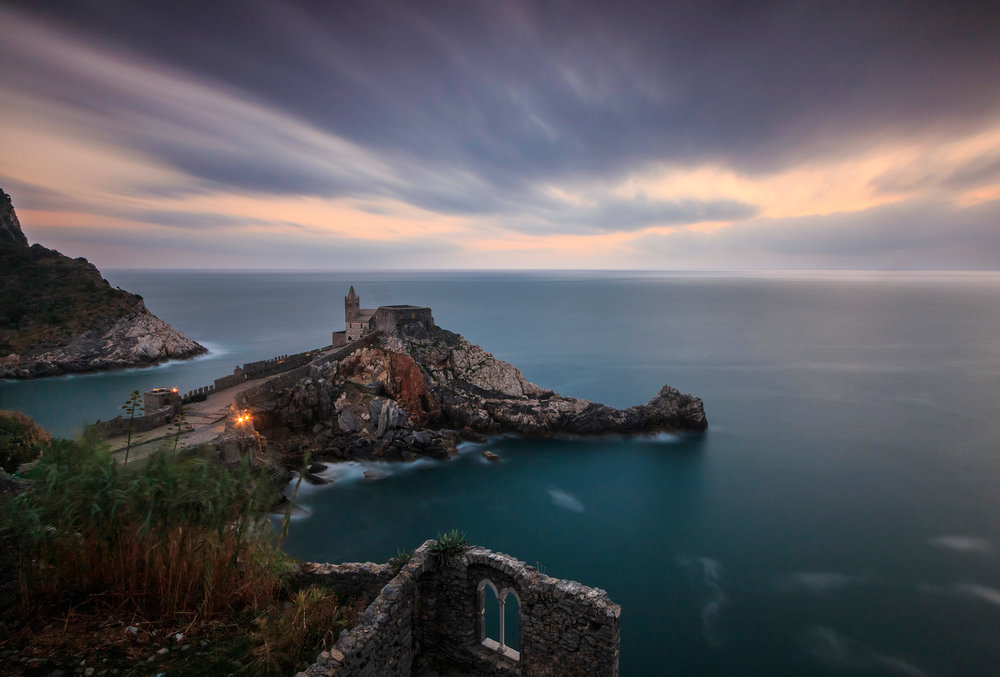 A very long exposure ( 6 minutes) view of the Fortress of Portovenere at sunset