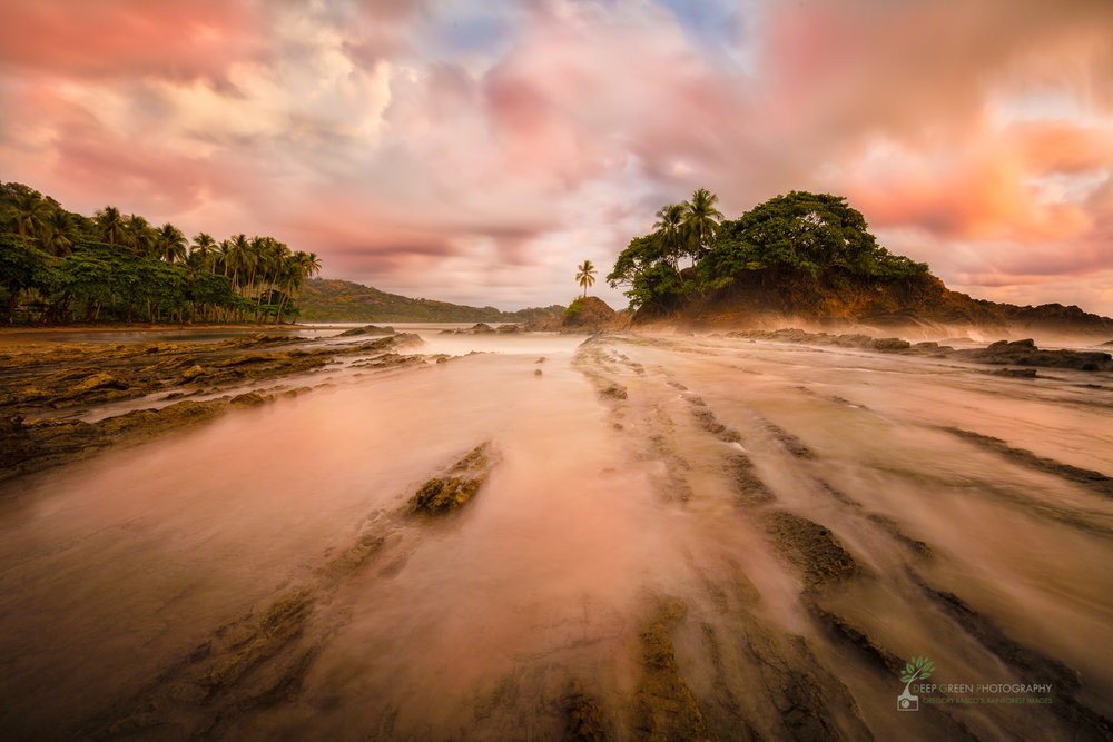 I used a 10 stop neutral density filter (kind of like welder's glass) for a very long exposure at sunset at my favorite beach on Costa Rica's Pacific Coast. The resulting 3 minute exposure gave an ethereal look to the image just after the sun had set.