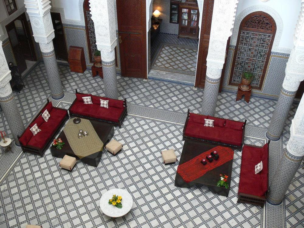 Riad Fes Lobby from Balcony_resize-Joe-Murphy.JPG
