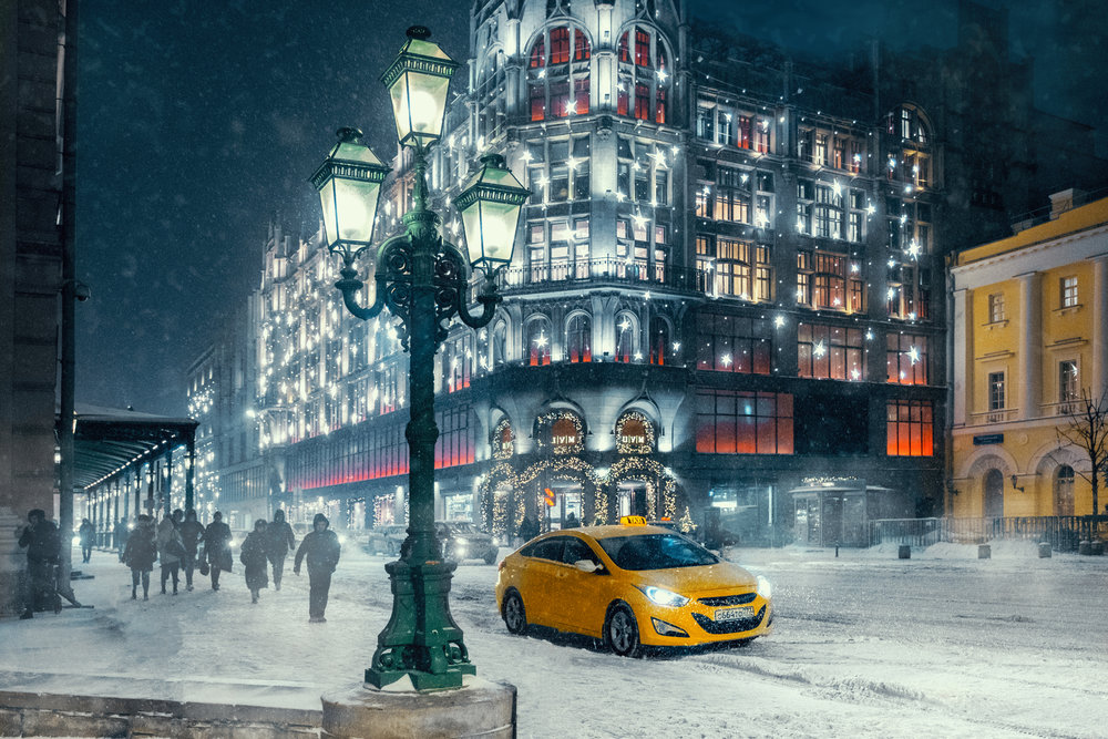 Moscow street. Winter landscape during snowstorm.