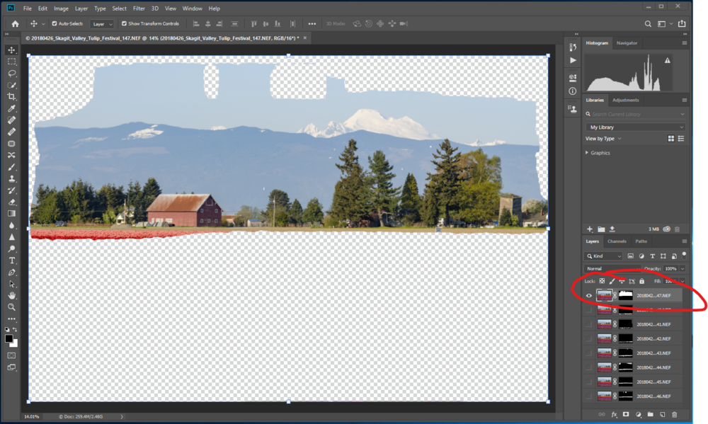 Highlight the sky layer and drag it to the top of the layer stack in Photoshop.
