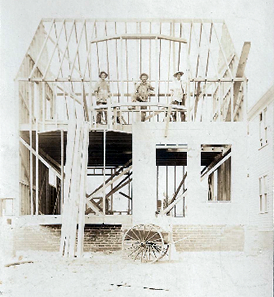 House construction in Mt. Clemens in the 1920's. Jim's grandfather Julius is on the left.