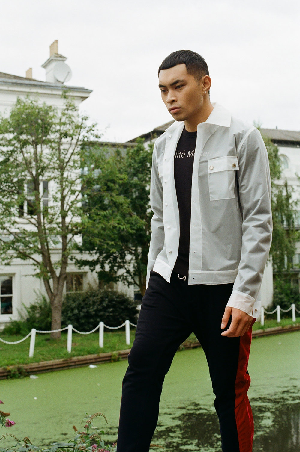 Rainier wears: Jacket - Weekday Stores, Jumper - Wood Wood, Trousers - Eastwood Danso