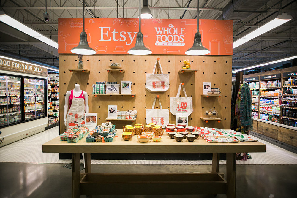 Etsy + Whole Foods - In this partnership with Whole Foods Market, we highlighted Etsy's community of independent artists and designers online and in Whole Foods Market locations around the world.
