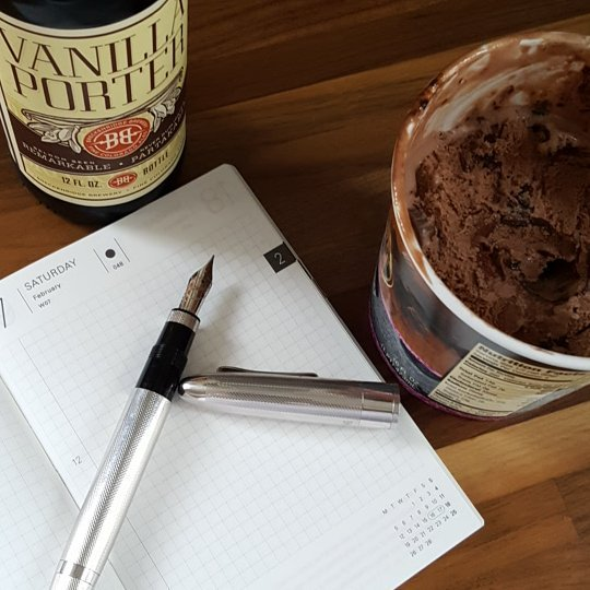 Seeing a lot of hobo shots this morning, figured I'd join in.  Am I doing this right? #omas #hobonichi #breckenridgebrewery #chocolateicecreamforbreakfast  #allthethings #bujo #absolutelynotbujo