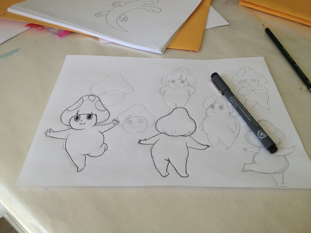 Well... we decided to join the students in doing a bit of design and animation. 私たちもそれぞれ合間の時間を使ってデザイン&アニメーションをはじめてみました。
