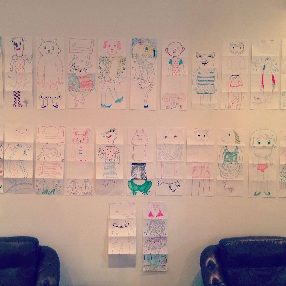 A selection of some of the Exquisite Corpse drawings the participants made. 優美な死骸遊びで作られた作品の数々。
