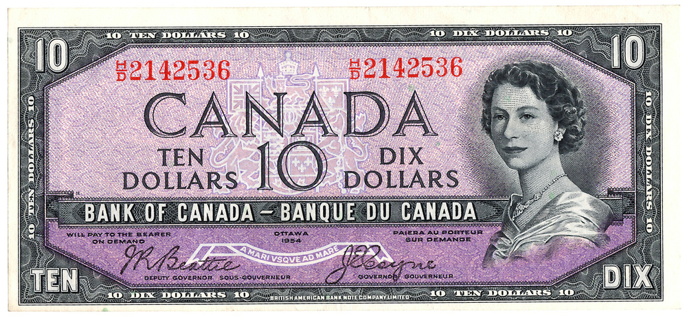 "Canada - 1954 ""Devil's Head"" $10 Note"