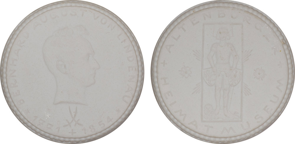 #3  Diameter: 39mm / Weight: 8.8g  Germany (Altenburg) 1924 Porcelain Medal - Meissen  Scheuch: #656  Mintage: 201-500