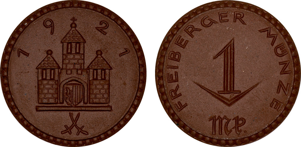 #4  Diameter: 28mm / Weight: 3.9g  Germany (Freiberg) - 1921 1 Mark