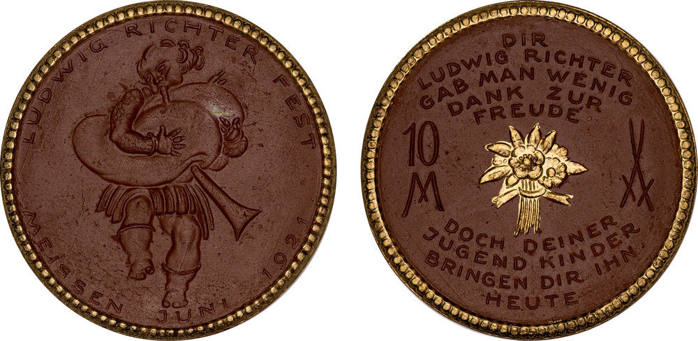 #9  Diameter: 41.5mm / Weight: 14.7g  Germany (Meissen) 1921 Porcelain 10 Mark Gilt Medal  Scheuch #381D  Mintage: 3,001 - 6,000
