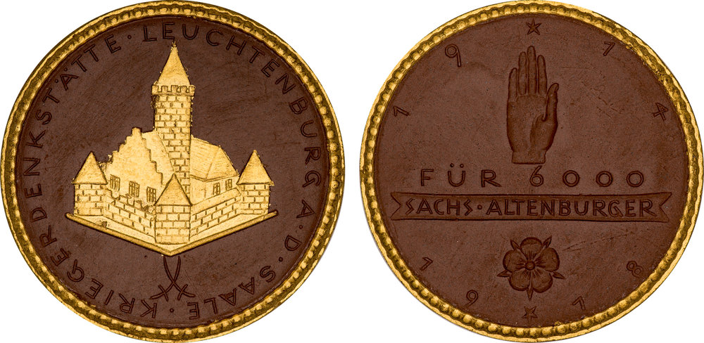 #10  Diameter: 41mm / Weight: 10.1g  Germany (Altenburg) 1918 Porcelain Gilt Medal  Scheuch #  Mintage: