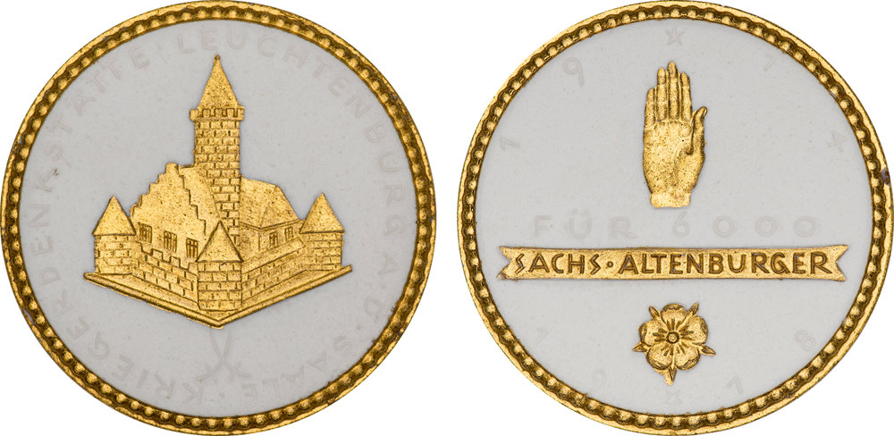 #12  Diameter: 39mm / Weight: 7.8g  Germany (Altenburg) 1918 Porcelain Gilt Medal  Scheuch #  Mintage: