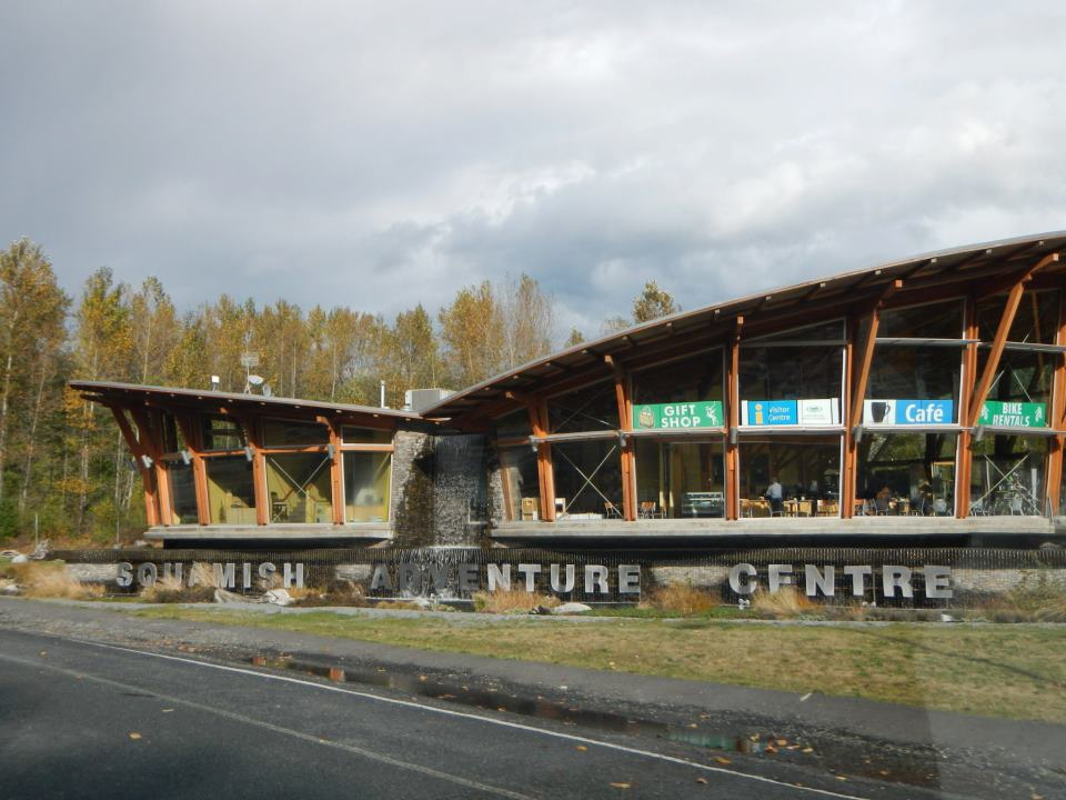 The Squamish Adventure Center. The center windows show the cafe, where we had coffee.