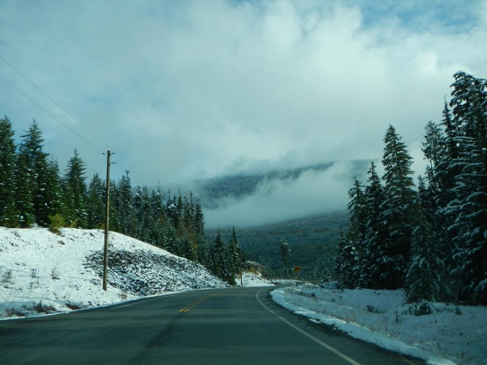 A snowy drive to the Olympic center.