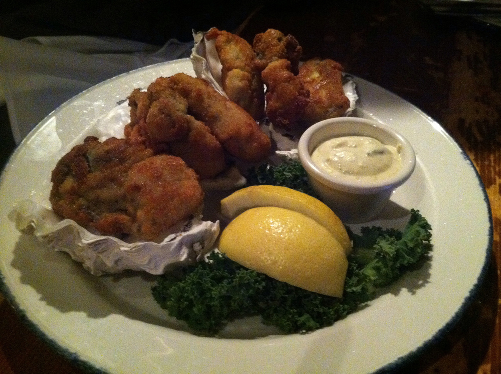 Deep fried oysters with a cream sauce. The best oysters that I have ever eaten. I am still craving the amazing sauce.