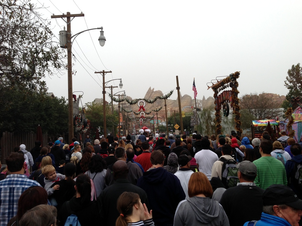 The mob of people making their way toward the Radiator Springs Racers. We were near the front of the rope drop and somehow got pushed back to the middle once we started moving.